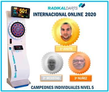Campeones Individuales del Internacional RadikalDarts 2020. 1º Josito, 2º MCostas y 3º Nuñez