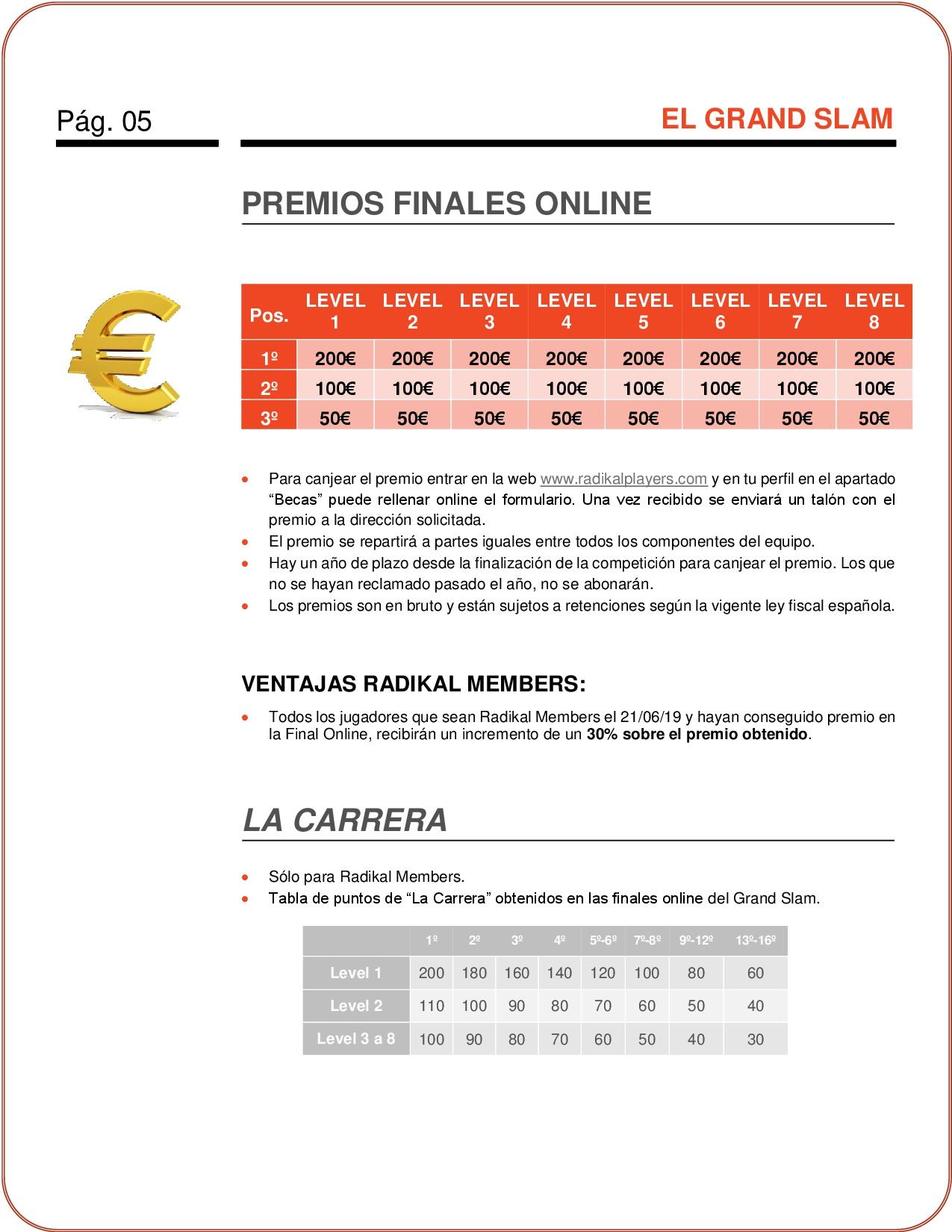 Premios del Nuevo Campeonato de dardos Online El Grand Slam de RadikalDarts