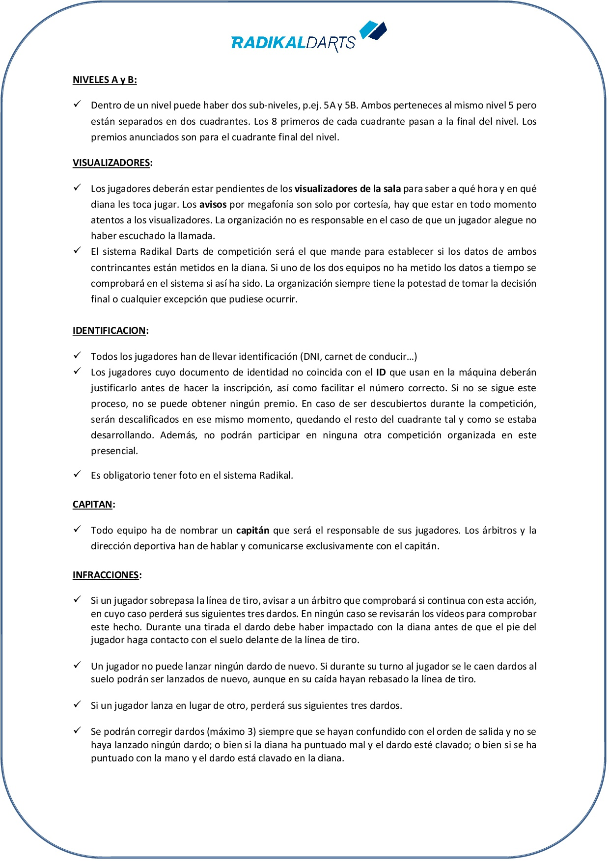 Normativa Internacional de dardos online de RadikalDarts 2019 en Lloret de Mar