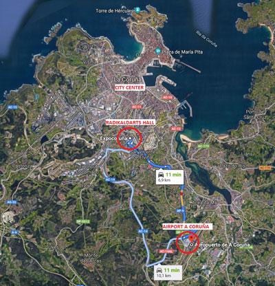 Mapa del Internacional RadikalDarts 2020 en A Coruña