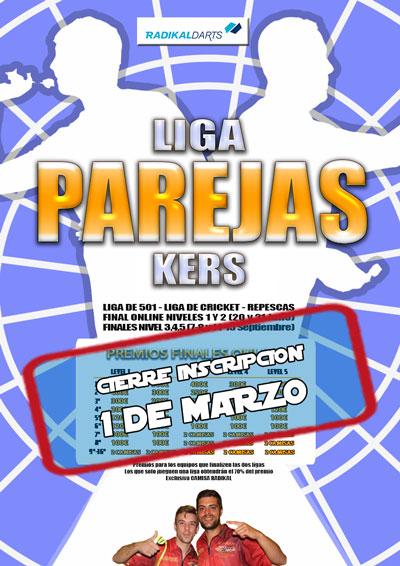 Cierre inscripcion Liga de Parejas Kers Virtual con Final Online